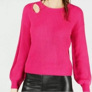 Pullover Sweater Cut Out Shoulder Hot Bright Pink